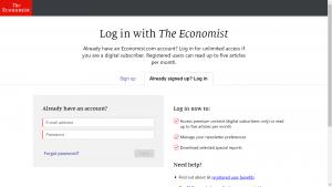 The Economist Login Page