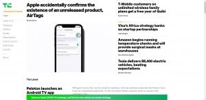 TechCrunch Website Homepage