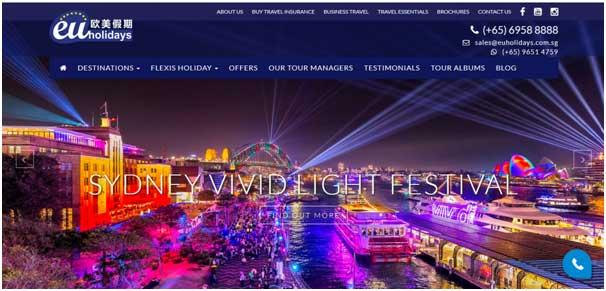 EU Holidays website, developed by our web designer