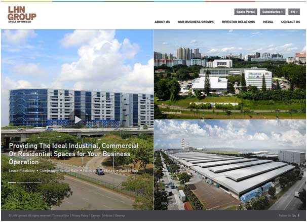 Example of web design for a corporate site