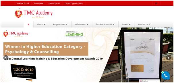 Portfolio of web design for TMC academy